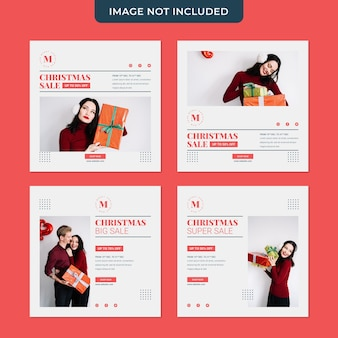 Christmas sale minimalist social media post collection template Premium Psd