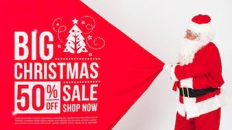 サンタとクリスマスセールのモックアップ