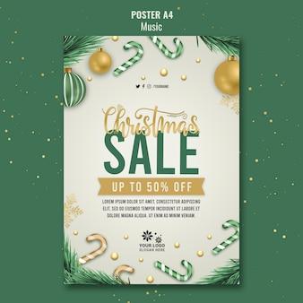 Рождественская распродажа шаблон дизайна плаката