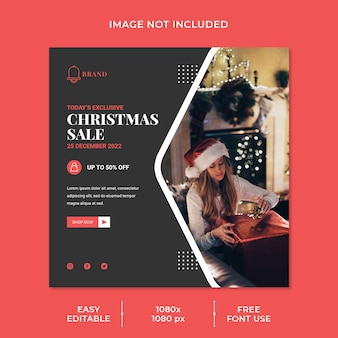 Christmas sale social media post template