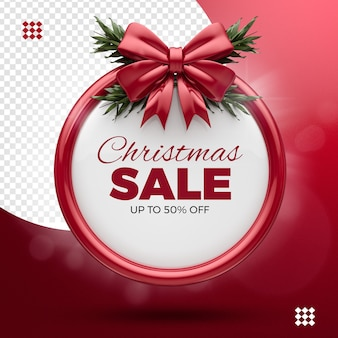 Christmas sale, up to 50% off, ribbon red and tree branches