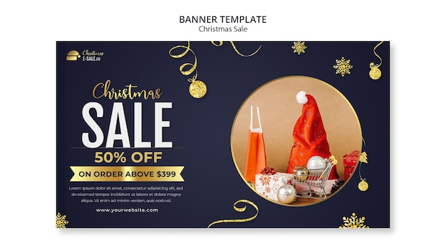 Рождественские продажи баннер шаблон с золотыми деталями