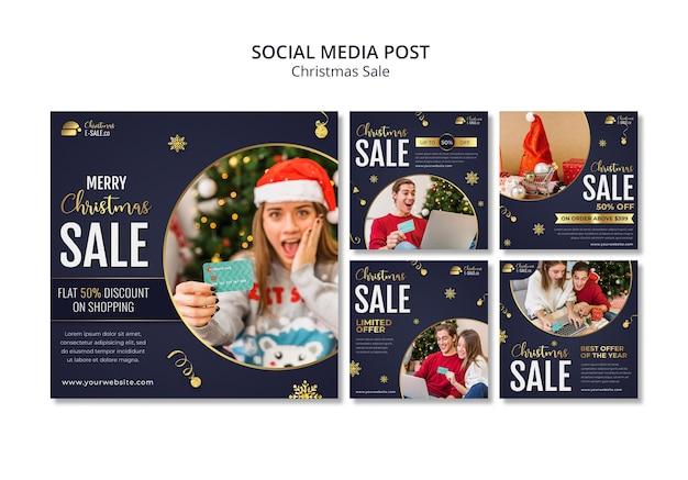 Christmas sales ig posts with golden details