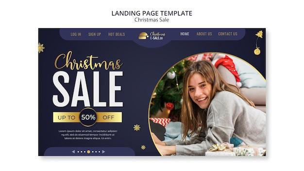 黄金の詳細を含むクリスマスセールのランディングページテンプレート