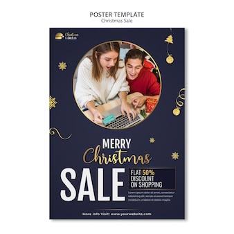 Modello di stampa saldi natalizi con dettagli dorati