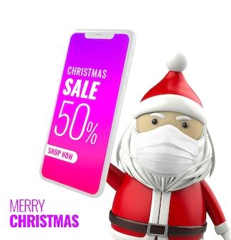Рождественский санта держит макет смартфона