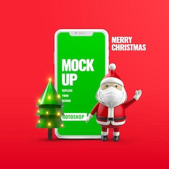 Christmas santa wear face mask advertising mockup