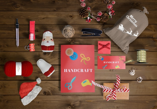 Christmas scene creator concept on wooden table