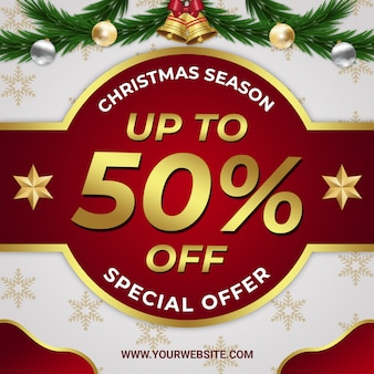 Christmas seasonal discount banner with red and gold elegant