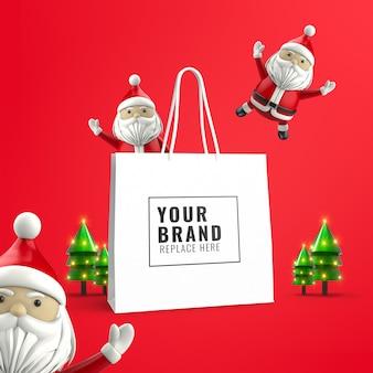 Рождественский макет рекламной сумки