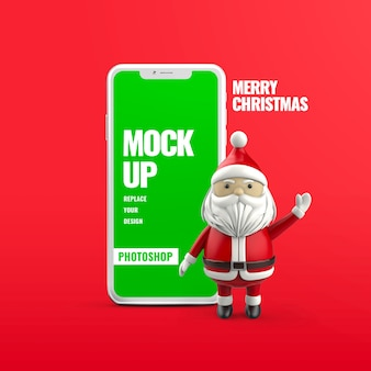 Christmas smartphone advertising isolated