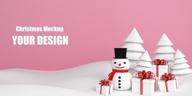 Рождественский снеговик рекламный макет