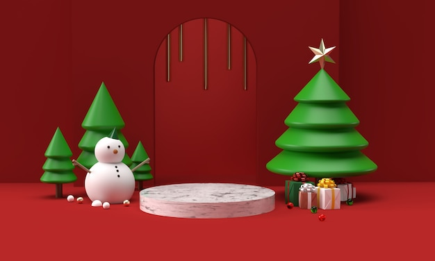Christmas snowman toys with trees in 3d rendering