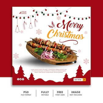 Christmas social media post banner template for food restaurant menu
