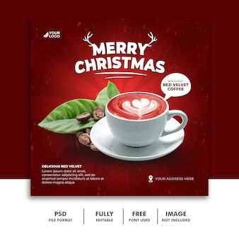 Christmas social media post banner template for restaurant food menu