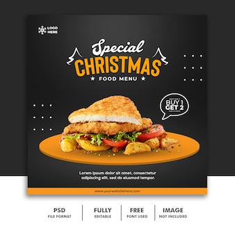 Christmas social media post banner template