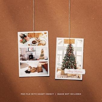 Рождественский пост в социальных сетях, висящий макет рамок для фотобумаги