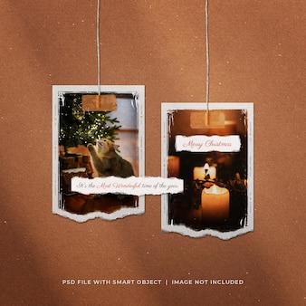 Рождественский пост в социальных сетях, висит макет разорванных рамок для фотобумаги