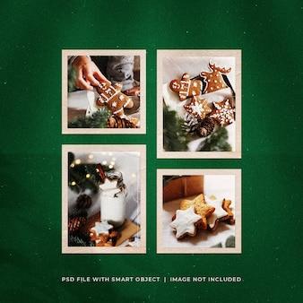 Рождественский пост в соцсетях photo polarid frames mockup