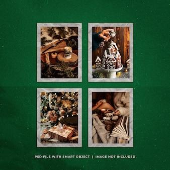 Рождественский пост в социальных сетях фото polarid frames moodboard mockup