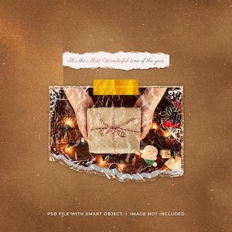 Рождественский пост в социальных сетях в пластиковой упаковке, разорванное фото polaroid mockup