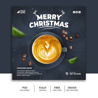 Christmas social media post template for drink menu coffee Premium Psd