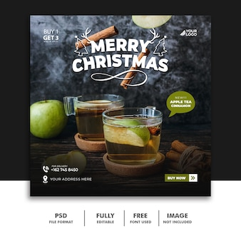 Christmas social media post template for drink menu