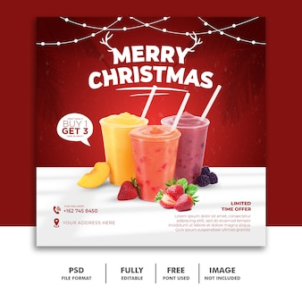 음료 메뉴 크리스마스 소셜 미디어 게시물 템플릿