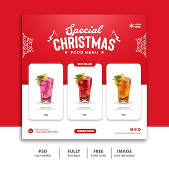 レストランのフードメニューのクリスマスソーシャルメディア投稿テンプレート