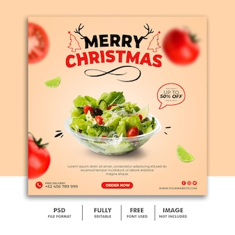 Christmas social media post template for restaurant food menu