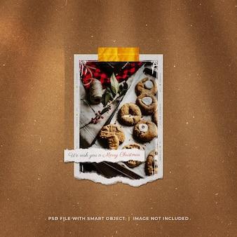 Рождественский пост в социальных сетях, разорванный фото, макет polaroid