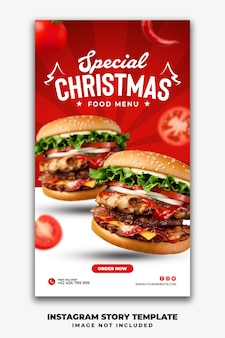 패스트 푸드 메뉴 버거를위한 크리스마스 소셜 미디어 스토리 템플릿 레스토랑