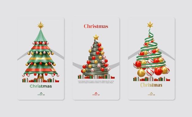 Рождественский шаблон истории в социальных сетях с tree 3d rendering illustration