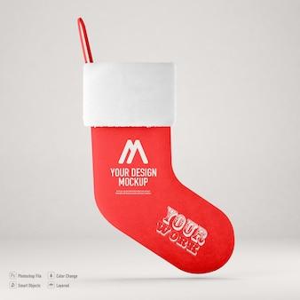 分離されたクリスマスの靴下のモックアップ