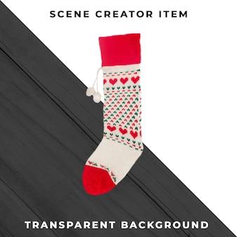 Рождественские носки, изолированные с обтравочный контур. Premium Psd