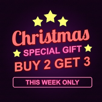 Christmas special gift banner in neon style design