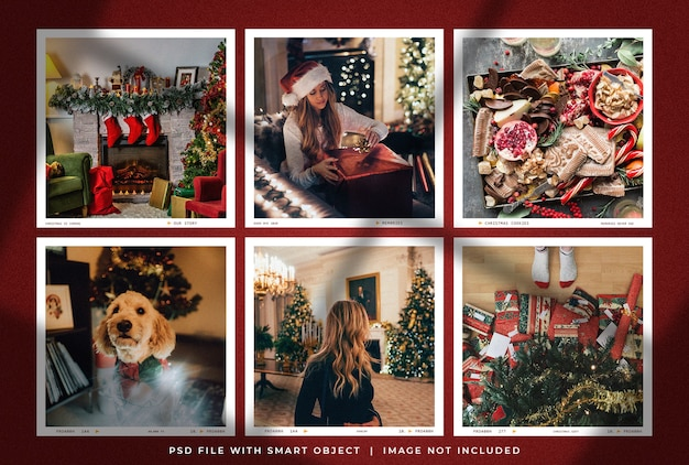 Christmas square photo frame set mockup