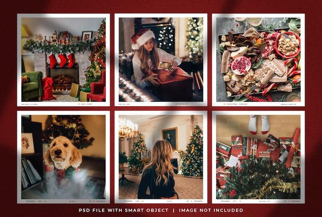 Christmas square photo frame set mockup