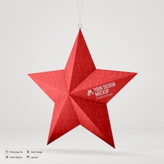 Christmas star mockup isolated