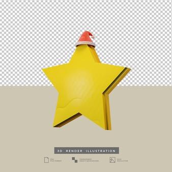 Christmas star with santa hat 3d illustration
