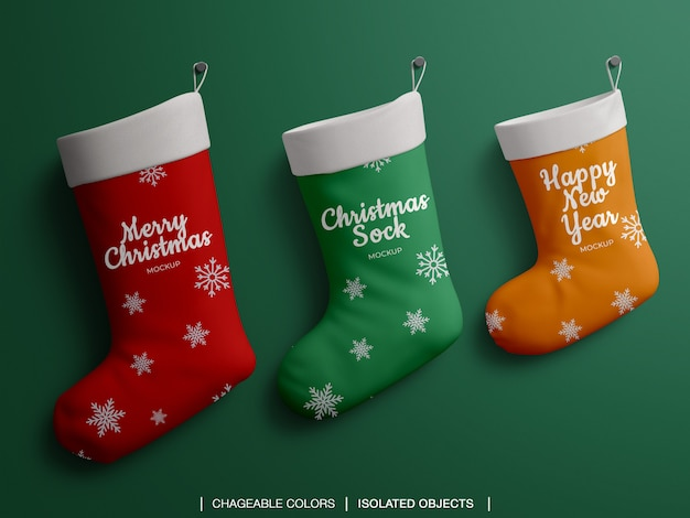 クリスマスの靴下靴下セットモックアップ