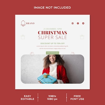Christmas super sale for social media template