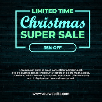 Christmas super sale square banner