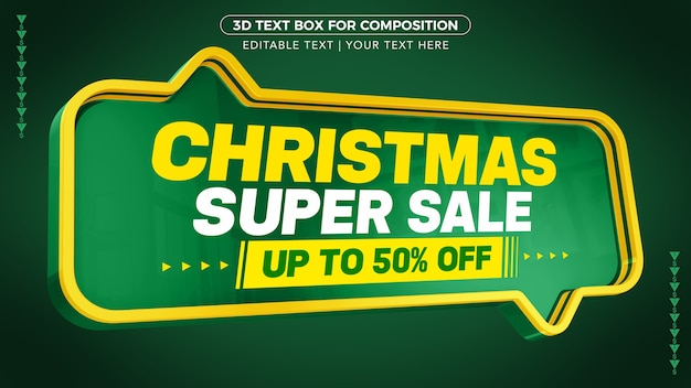 Christmas super sale with up to discount in 3d rendering