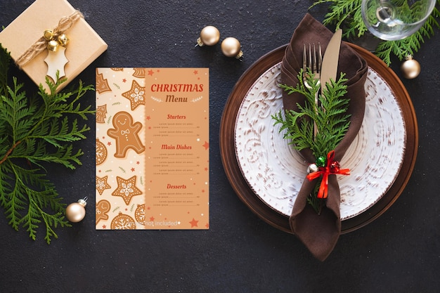 Christmas table setting. background for writing christmas or new year menu.