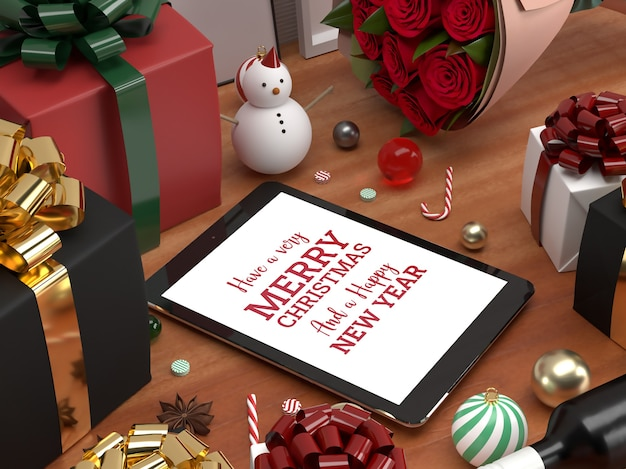 Christmas tablet pad celebration 3d realistic laying down mockup advertisement