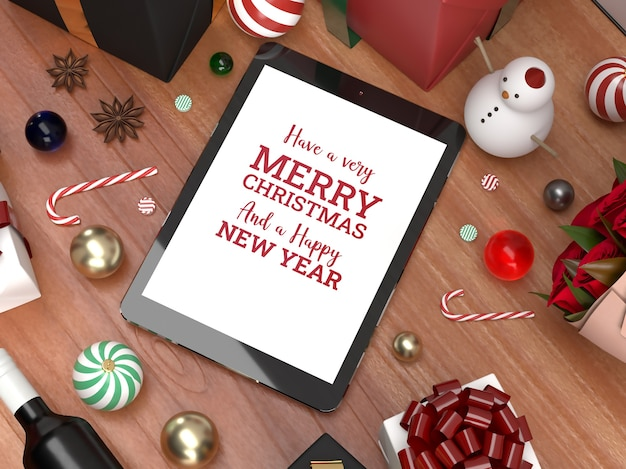 Christmas tablet pad celebration 3d realistic laying down mockup marketing