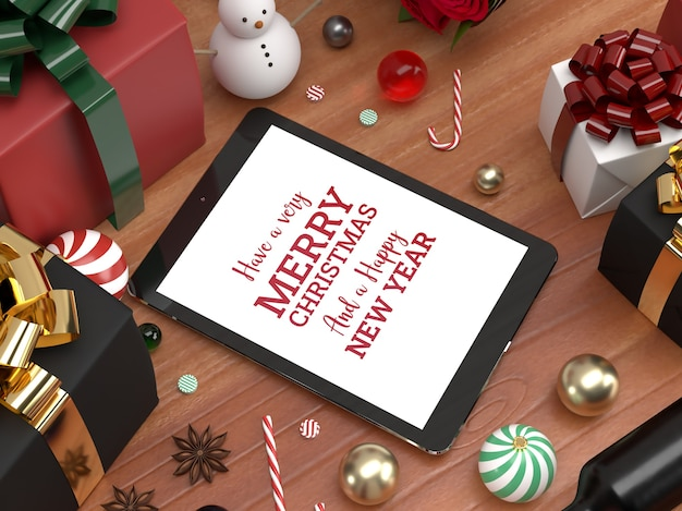 Christmas tablet pad celebration 3d realistic laying down mockup promotion Premium Psd