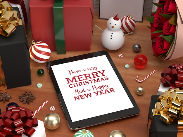 Christmas tablet pad celebration 3d realistic laying down mockup with assets