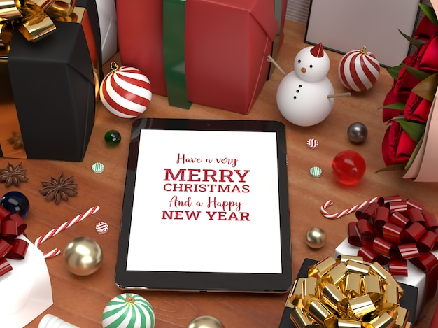 Christmas tablet pad celebration 3d realistic laying down mockup